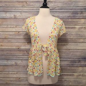 Free People Floral Short Sleeve Sweater